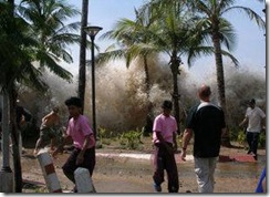 The tsunami caused by the December 26, 2004  earthquake strikes Ao Nang, Thailand.