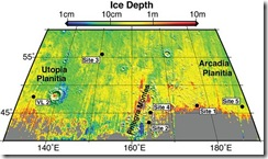 This map shows five locations where fresh impact craters have excavated water ice from just beneath the surface of Mars (sites 1 through 5) and the Viking Lander 2 landing site (VL2), in the context of color coding to indicate estimated depth to ice.