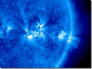 This is the sun photographed by an ultraviolet camera onboard NASA's STEREO spacecraft.