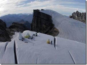 Above, one of the drill camps perched precariously between crevasses in the ice field on Puncak Jaya