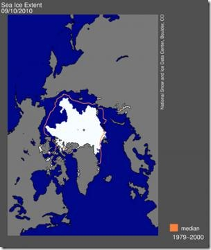 Arctic sea ice reached the lowest 2010 extent, making it the third lowest extent in the satellite record. (Credit: CU-Boulder/National Snow and Ice Data Center)