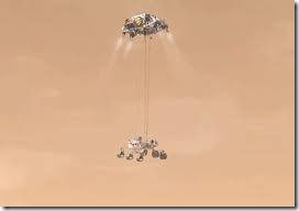 The sky crane flies the rover to its destination (Artist drawing courtesy NASA)