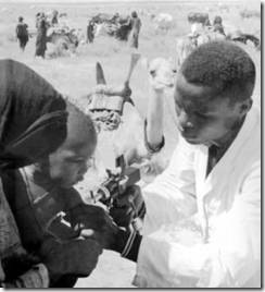 Nigerian child being immunized during the Smallpox Eradication and Measles Control Program of West Africa in 1960