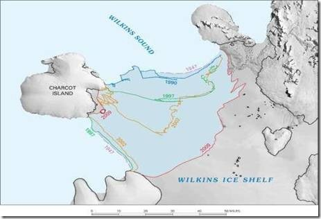 ice-front retreat in part of the southern Antarctic Peninsula from 1947 to 2009