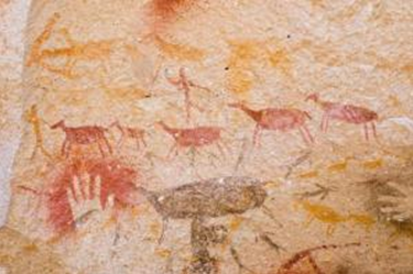 Ancient cave paintings. Ancient hunting scene painted in a cave in Santa Cruz, Patagonia, Southern Argentina. (Credit: iStockphoto/Pablo Caridad)